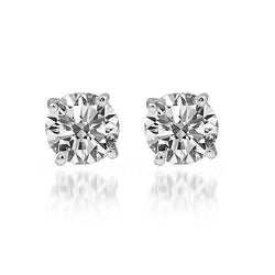 14K Solid White Gold Diamond Solitaire Stud Earrings 1.01 Ctw