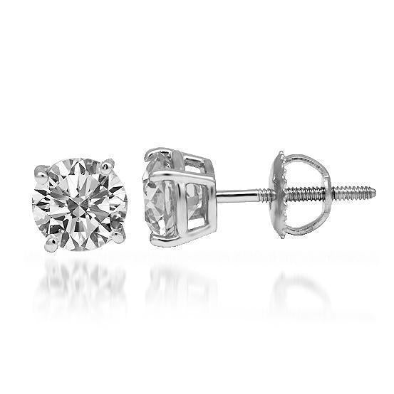 14K Solid White Gold Diamond Solitaire Stud Earrings 1.05 Ctw