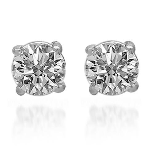 14K Solid White Gold Diamond Solitaire Stud Earrings 1.20 Ctw