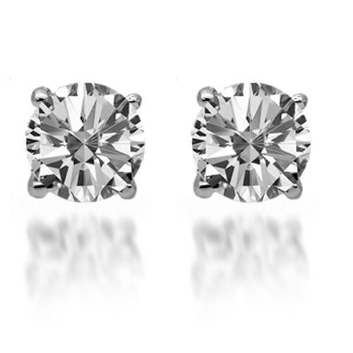 14K Solid White Gold Diamond Solitaire Stud Earrings 1.30 Ctw