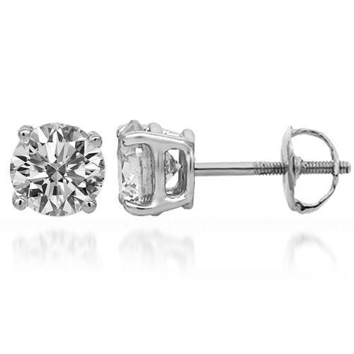14K Solid White Gold Diamond Solitaire Stud Earrings 1.47 Ctw