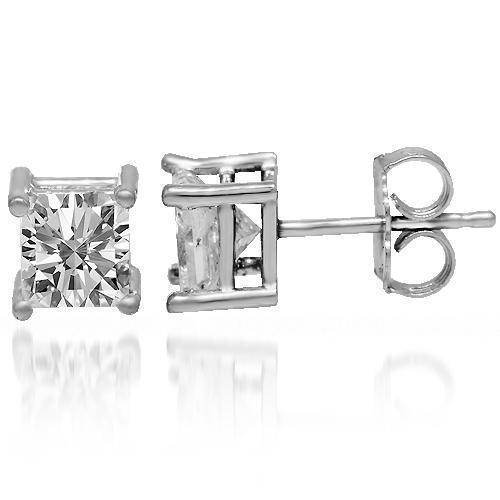 14K Solid White Gold Diamond Solitaire Stud Earrings 1.50 Ctw