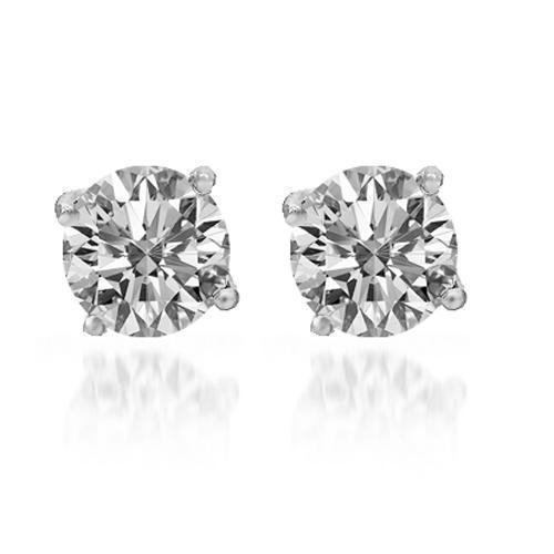 14K Solid White Gold Diamond Solitaire Stud Earrings 1.91 Ctw