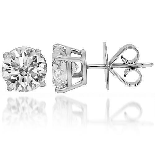 14K Solid White Gold Diamond Solitaire Stud Earrings 2.02 Ctw