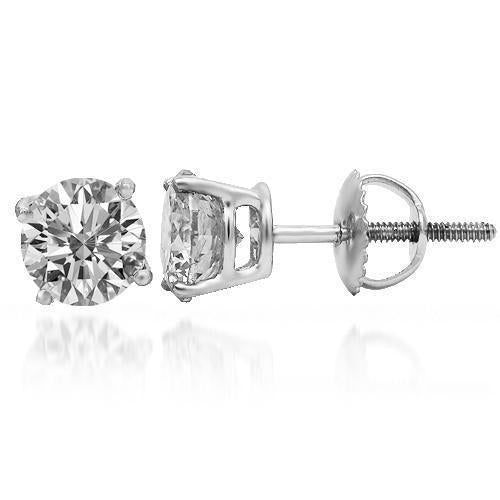 14K Solid White Gold Diamond Solitaire Stud Earrings 2.07 Ctw