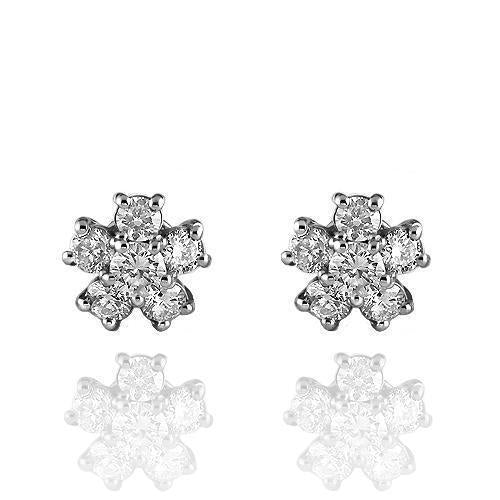 White 14K Solid White Gold Diamond Stud Earrings 0.60 Ctw