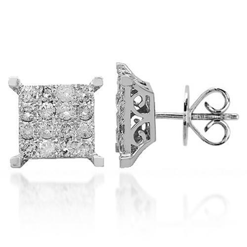 White 14K Solid White Gold Diamond Stud Earrings 1.50 Ctw