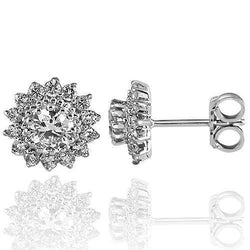 14K Solid White Gold Diamond Stud Earrings 1.80 Ctw