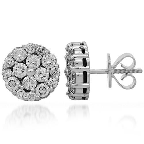 14K Solid White Gold Diamond Stud Earrings 2.85 Ctw