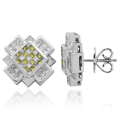 14K Solid White Gold Diamond Stud Earrings with Yellow Diamonds 1.95 Ctw
