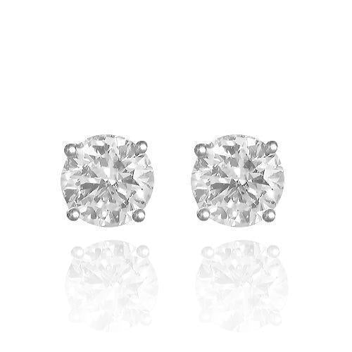 14K Solid White Gold GAI Certified  Diamond Stud 4-Prong Earrings 3.14 Ctw