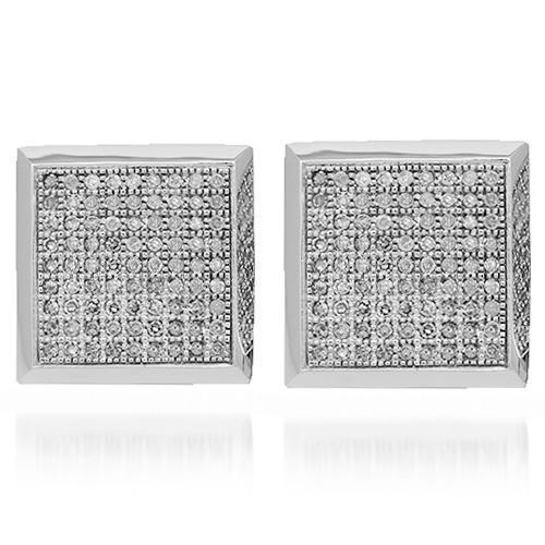 White 14K Solid White Gold Mens Diamond Stud Earrings 1.10 Ctw