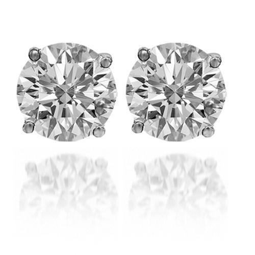 14K Solid White Gold Moissanite Solitaire Stud Earrings 3.00 Ctw