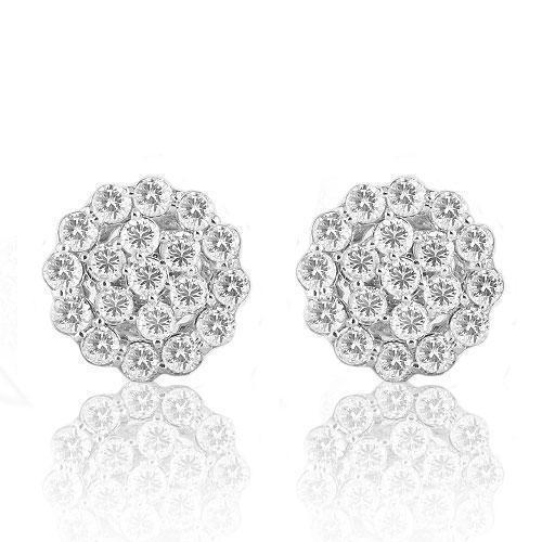 14K Solid White Gold Round Cut Diamond Cluster Earrings 3.00 Ctw