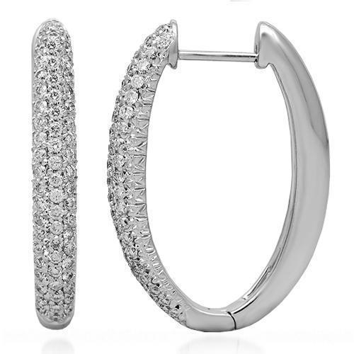 White 14K Solid White Gold Womens Diamond Hoop Earrings 1.00 Ctw