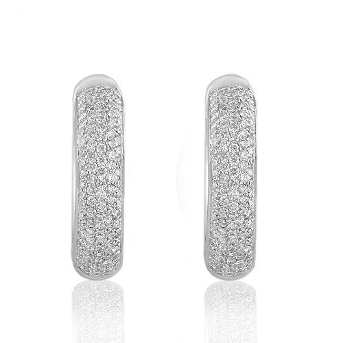 14K Solid White Gold Womens Diamond Hoop Earrings 1.25  Ctw