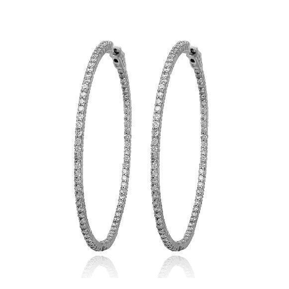 White 14K Solid White Gold Womens Diamond Hoop Earrings 1.25 Ctw