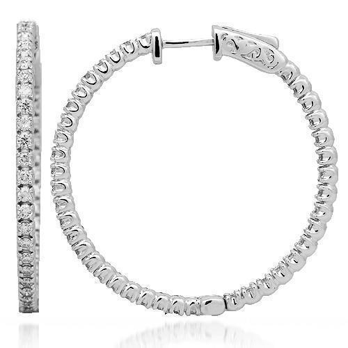 14K Solid White Gold Womens Diamond Hoop Earrings 1.75 Ctw