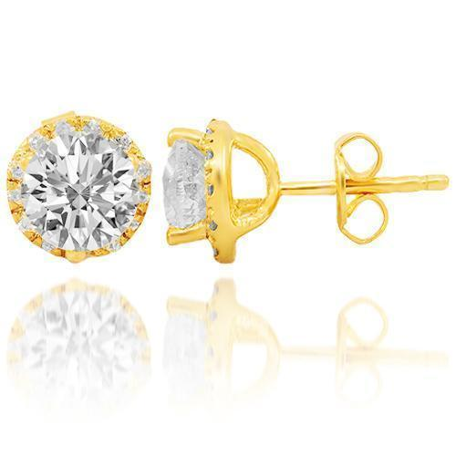 14K Solid Yellow Gold Clarity Enhanced Diamond Stud Earrings 2.63 Ctw