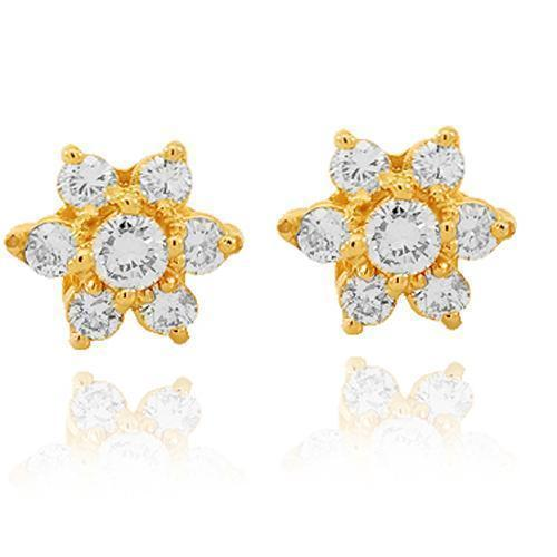 Yellow 14K Solid Yellow Gold Diamond Cluster Stud Earrings 1.00 Ctw