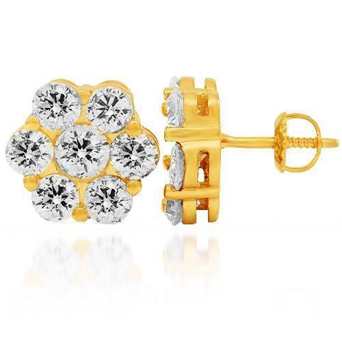 14K Solid Yellow Gold Diamond Cluster Stud Earrings 4.50 Ctw