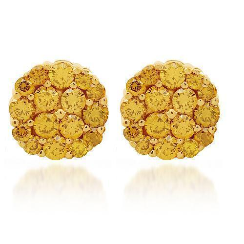 14K Solid Yellow Gold Diamond Cluster Stud Earrings with Yellow Diamonds 3.50 Ctw