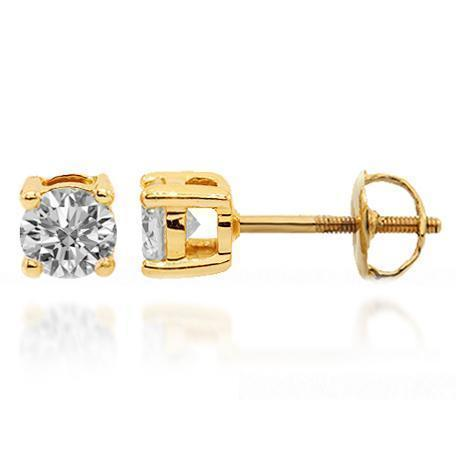 Yellow 14K Solid Yellow Gold Diamond Solitaire Stud Earrings 0.97 Ctw
