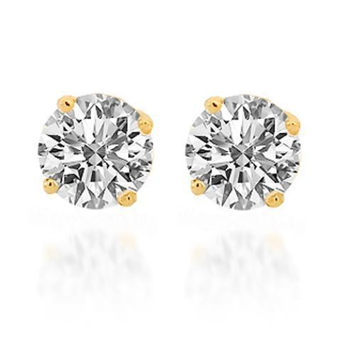 14K Solid Yellow Gold Diamond Solitaire Stud Earrings 0.99 Ctw