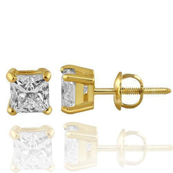 14K Solid Yellow Gold GAI Certified Diamond Stud 4-Prong Earrings 1.86 Ctw