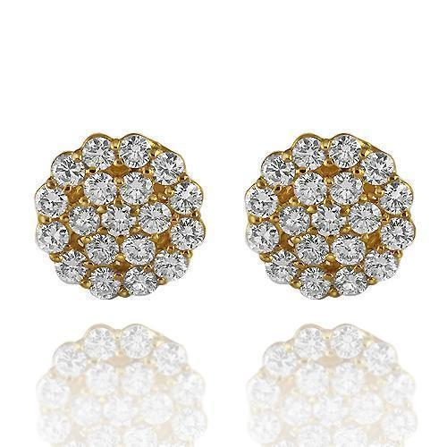 14K Solid Yellow Gold Round Cut Diamond Cluster Earrings 3.00 Ctw