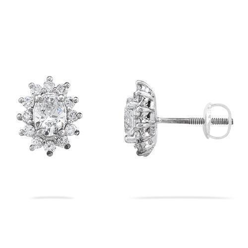 14K White Gold Diamond Earrings 1.63ctw