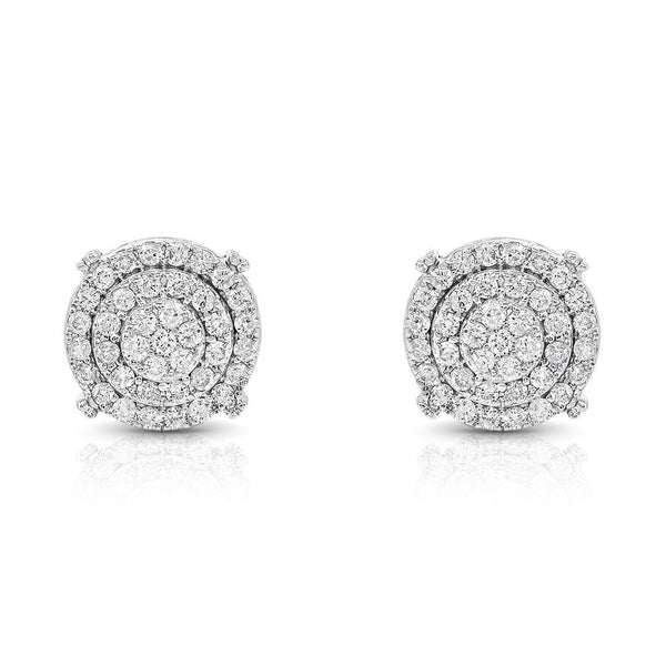 14K White Gold Diamond Stud Earrings 0.75 CTW