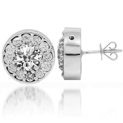 14K White Gold Diamond Stud Earrings 3.08 Ctw