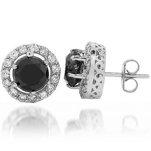 14K White Solid Gold Black Diamond Stud Earrings 6.50 Ctw