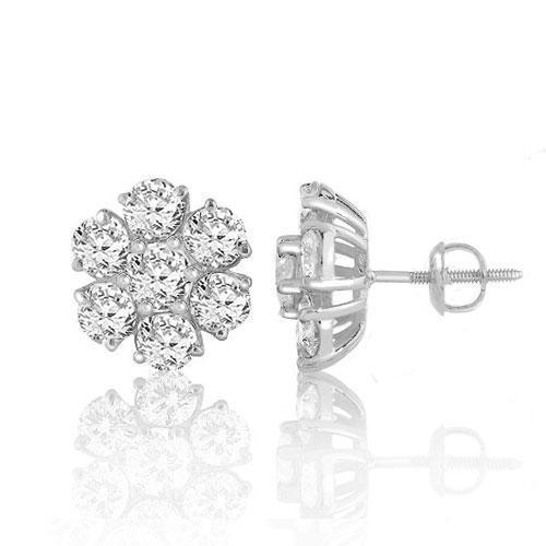 14K White Solid Gold Clarity Enhanced Diamond Cluster Earrings 2.50 Ctw