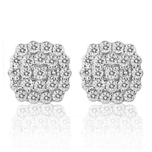 14K White Solid Gold Clarity Enhanced Diamond Cluster Earrings 4.30 Ctw