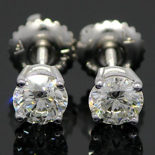 White 14K White Solid Gold Clarity Enhanced Diamond Solitaire Stud Earrings 0.73 Ctw