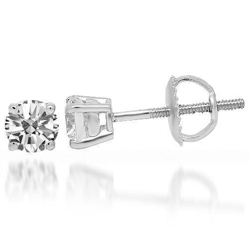 White 14K White Solid Gold Clarity Enhanced Diamond Solitaire Stud Earrings 0.75 Ctw