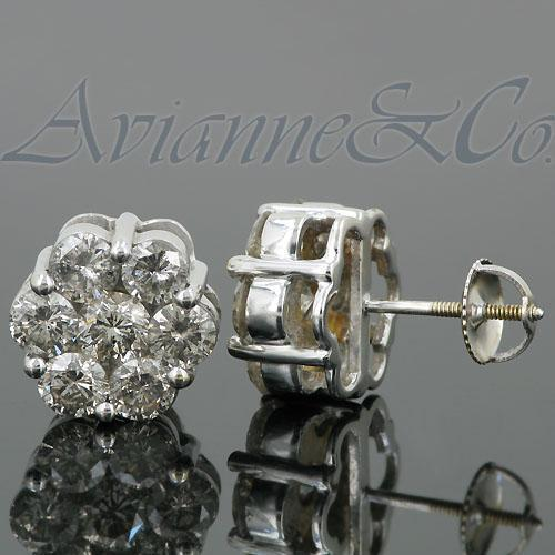 14K White Solid Gold Cluster Diamond Stud Earrings 4.65 Ctw