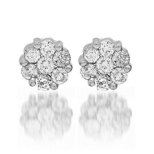 White 14K White Solid Gold Diamond Cluster Stud Earrings 2.00 Ctw