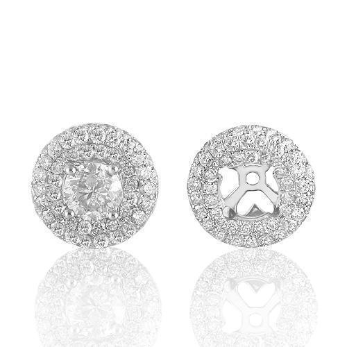 14K White Solid Gold Diamond Jackets Stud Earrings  2.91 Ctw