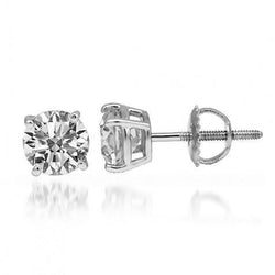 14K White Solid Gold Diamond Solitaire Stud Earrings 1.92 Ctw