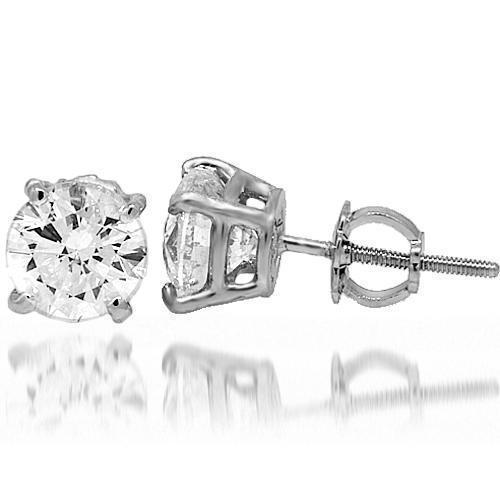 14K White Solid Gold Diamond Solitaire Stud Earrings 2.02 Ctw