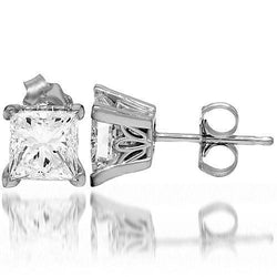 14K White Solid Gold Diamond Solitaire Stud Earrings 2.05 Ctw