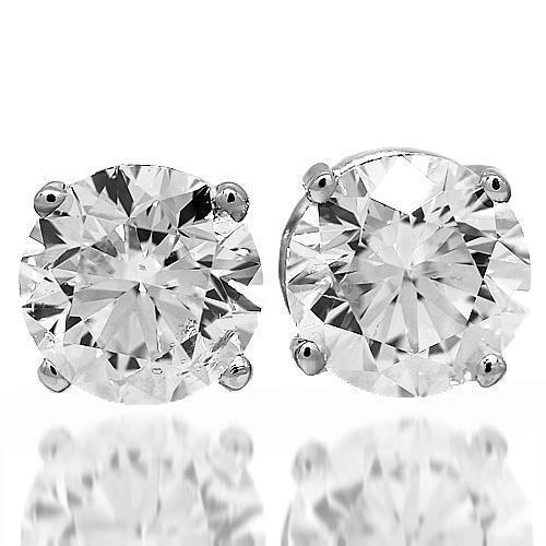 14K White Solid Gold Diamond Solitaire Stud Earrings 6.01 Ctw