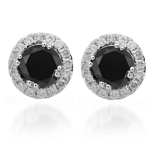 White 14K White Solid Gold Diamond Stud Earrings with Black Diamonds 1.50 Ctw