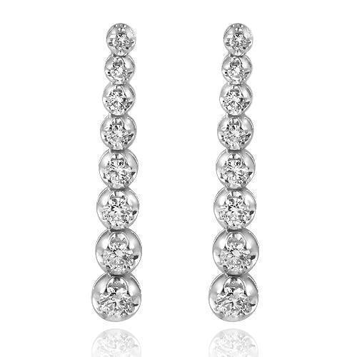 14K White Solid Gold Diamond Womens Earrings 2.75 Ctw