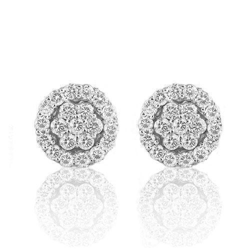 White 14K White Solid Gold Round Cut Diamond Cluster Earrings 0.87 Ctw