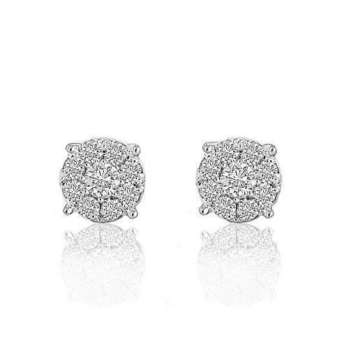 White 14K White Solid Gold Round Cut Diamond Cluster Earrings 0.91 Ctw