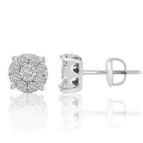 14K White Solid Gold Round Cut Diamond Cluster Earrings 1.90 Ctw